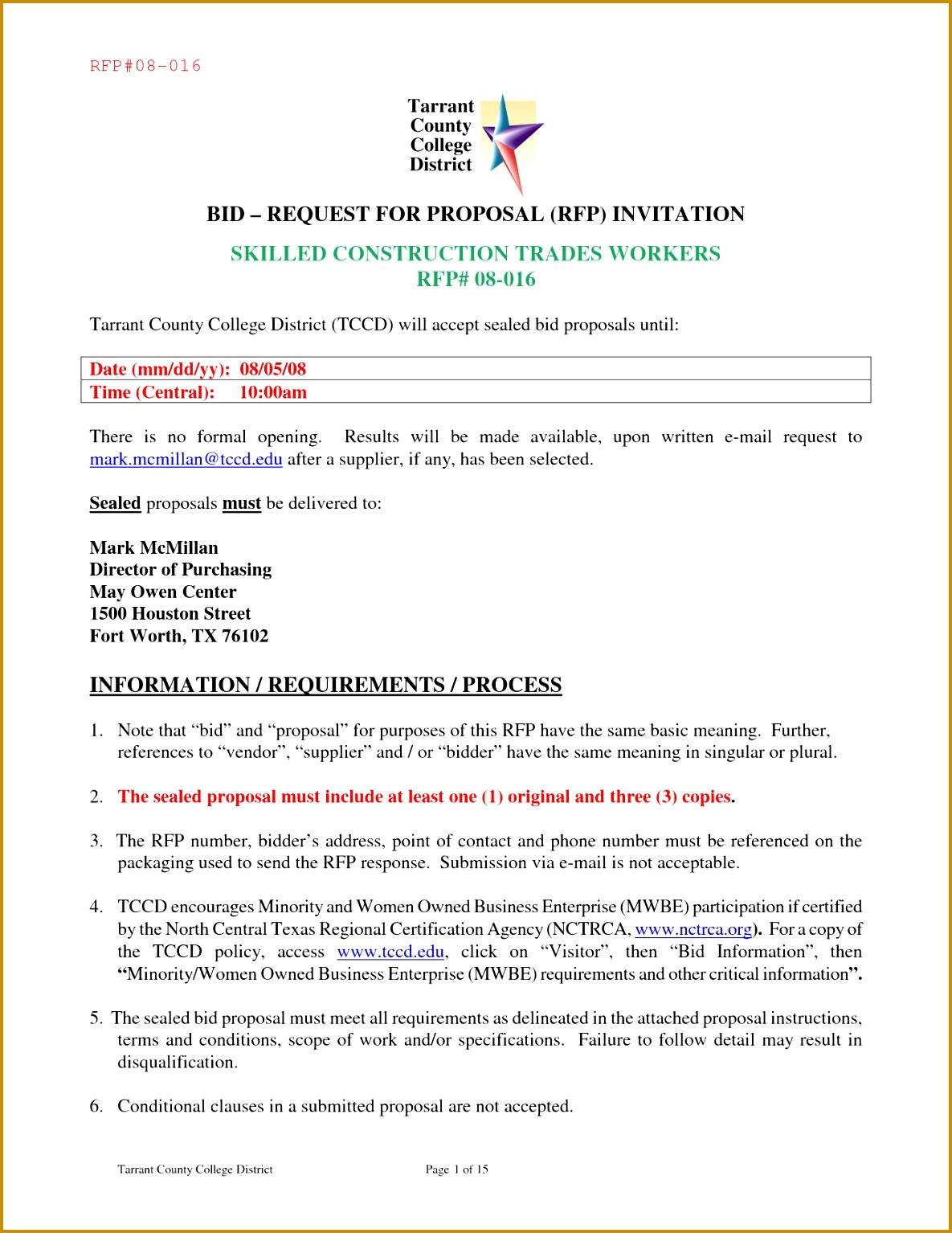 Construction Bid Proposal Sample 15341185