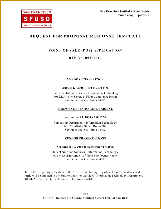 Proposal Architectural Services Template10241322 RFP Response Template San  Francisco Unified School District 677876