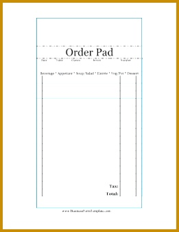 Restaurant Order Pad Business Form Template 338261