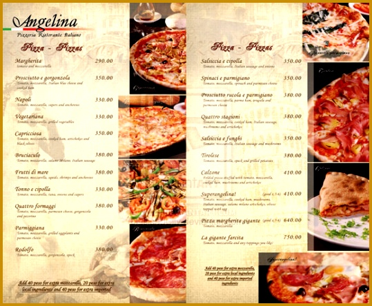 restaurant menus sample