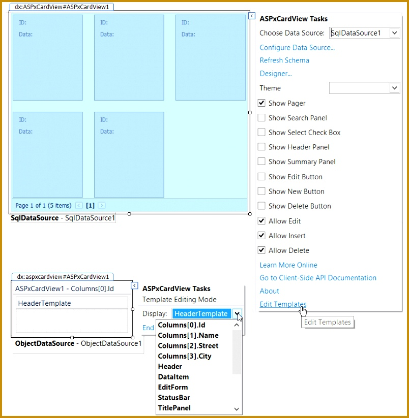 Select the Edit Template menu item and select the template you want to edit As a result the ASPxCardView will be displayed in template editing mode 823804