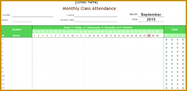 Students monthly attendance sheet printable excel template with auto count functions 290595