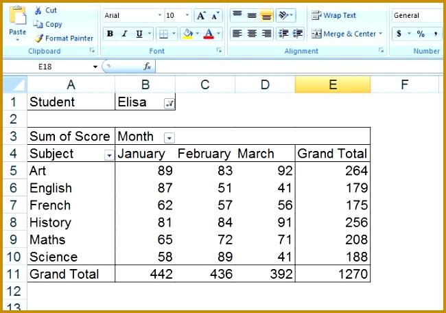 You can this pivot table data and generate report like result card marks sheet You can also pare the results of students based on subject 456650