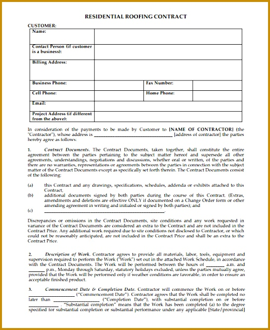 Residential Roofing Contract Form 665544
