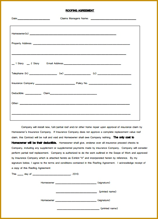 Download Free Roofing Contract Agreement Template PDF Format 544751