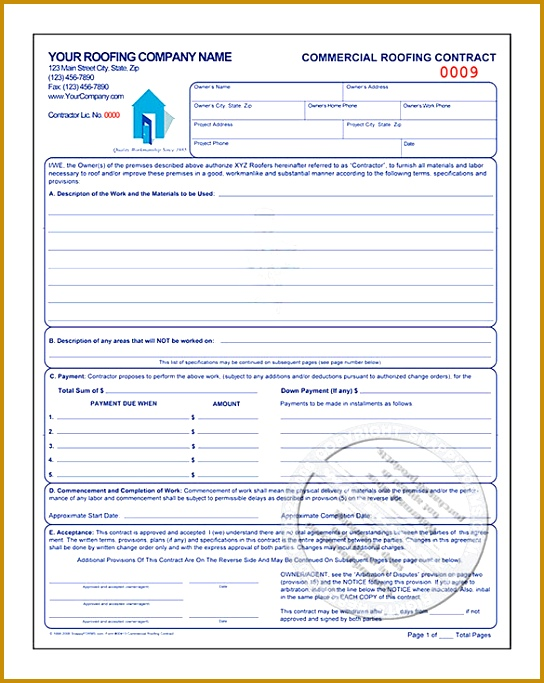 mercial Roofing Contract Estimate Template 544683