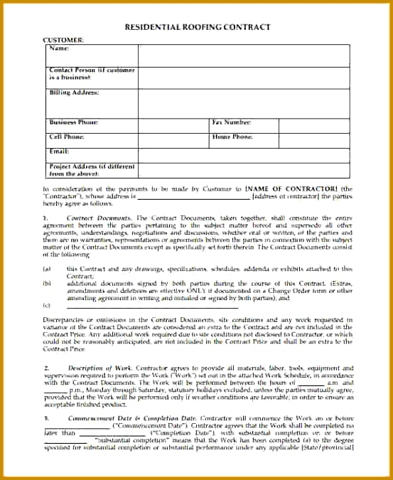7 free residential roofing contract template 675553