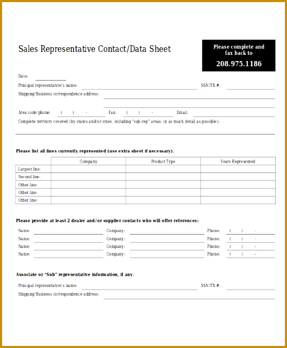 Sales Contact Data Sheet 558678
