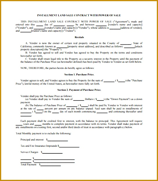Installment Land Sale Contract Template in PDF Format 544623