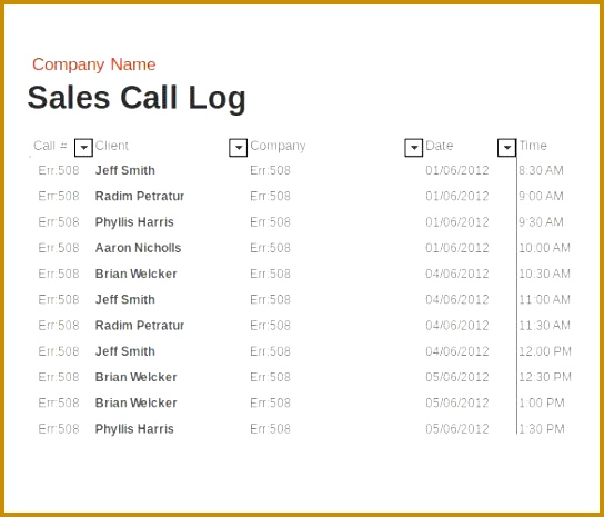 sales call report format free 465544