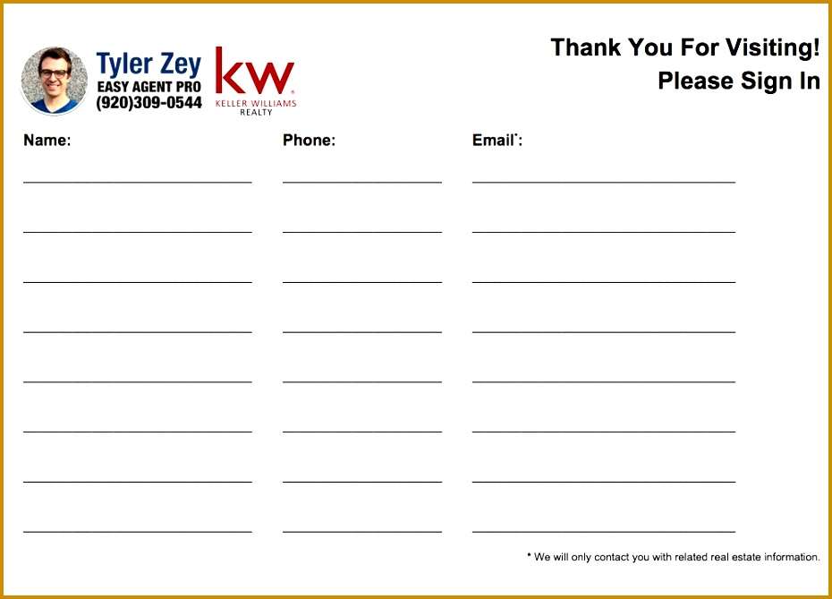 Special Keller Williams open house sign in sheet 930669