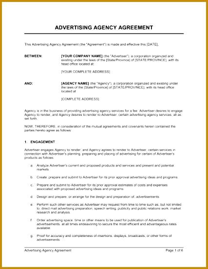 Sample Advertising Contract  Fabtemplatez