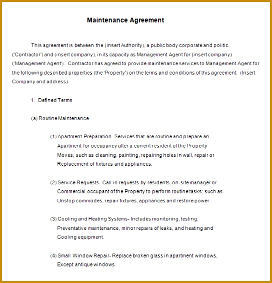 Free Annual Maintenance Contract Template Download 544565  Maintenance Contract Sample