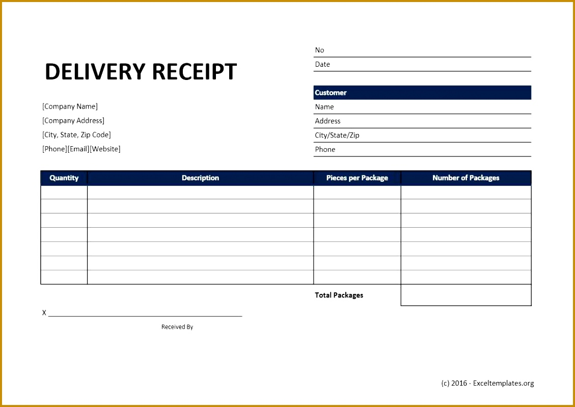 Delivery Receipt Excel Template 1129799