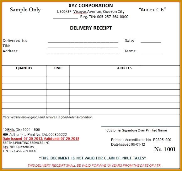 Sample Receiptslivery Receipt3 546580