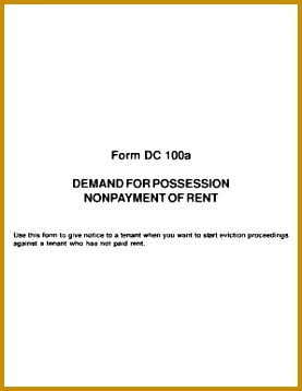 courts Form dc 100a demand for possession nonpayment of rent use this form to give notice to a tenant when you want to start eviction proceedings 358277