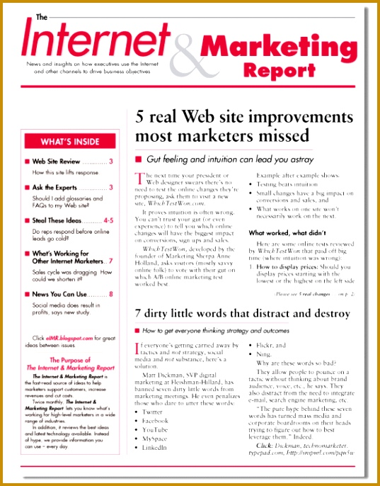 weekly marketing report 5478 537686