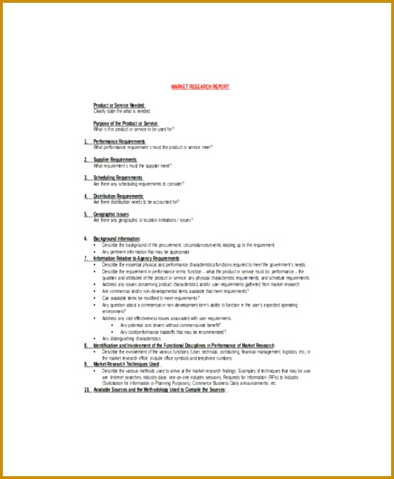 Sample Market Research Report Template 678558