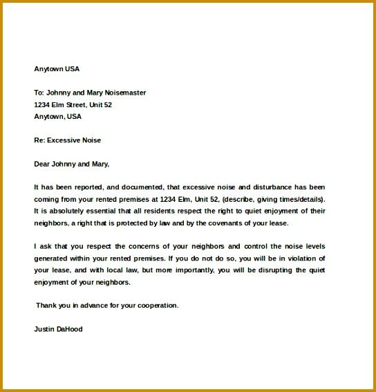Example Tenant Noise Plaint Letter Template 544567