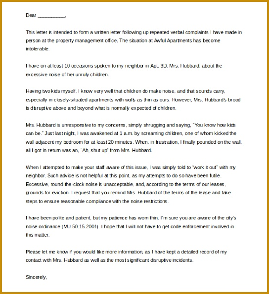 7 Sample Of Complaint Letter to Apartment Management