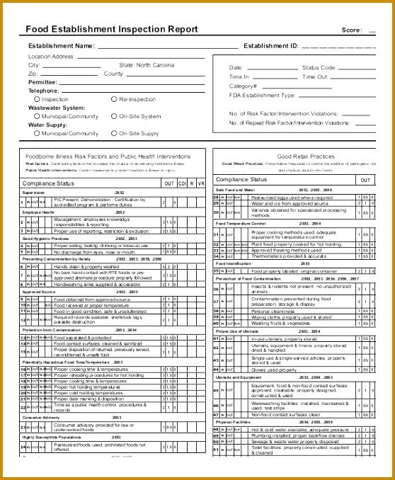 Food Establishment Inspection Sample Report 678558
