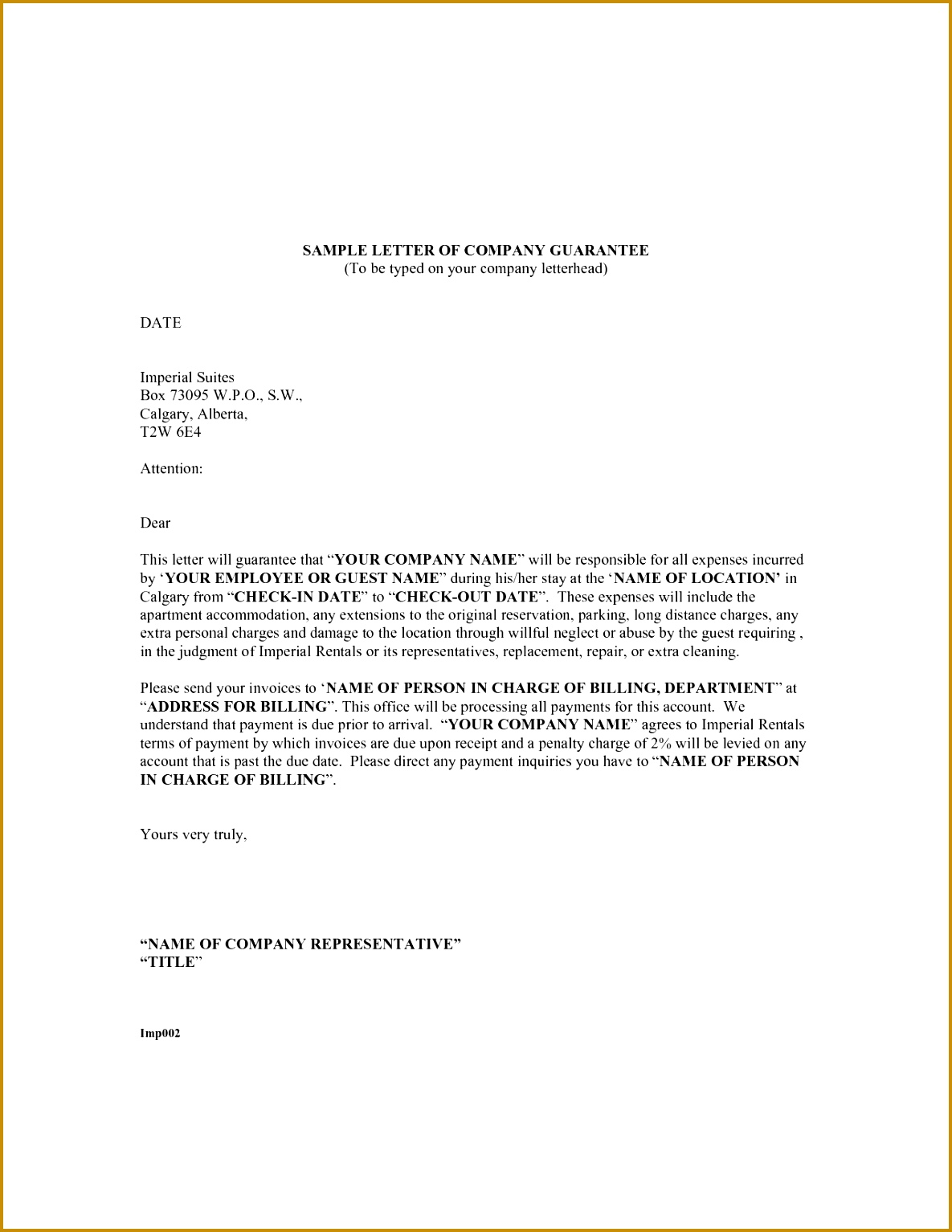 Personal Payment Guarantee Letter 15341185