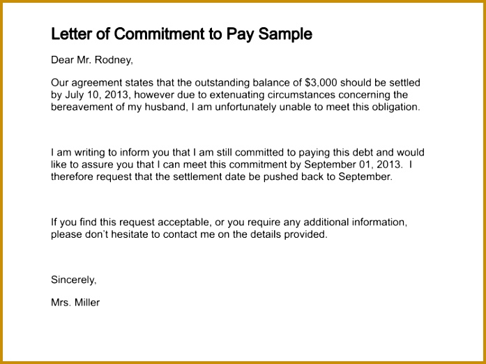 letter of mitment to pay sample 151 3 522697