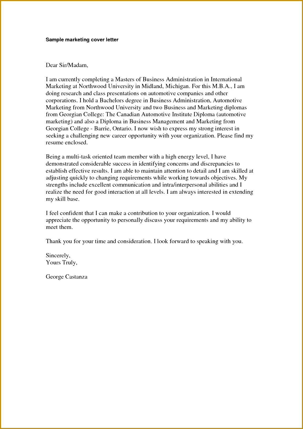 Marketing Cover Letter sample marketing cover letter will help you in creating a winning cover 16311153