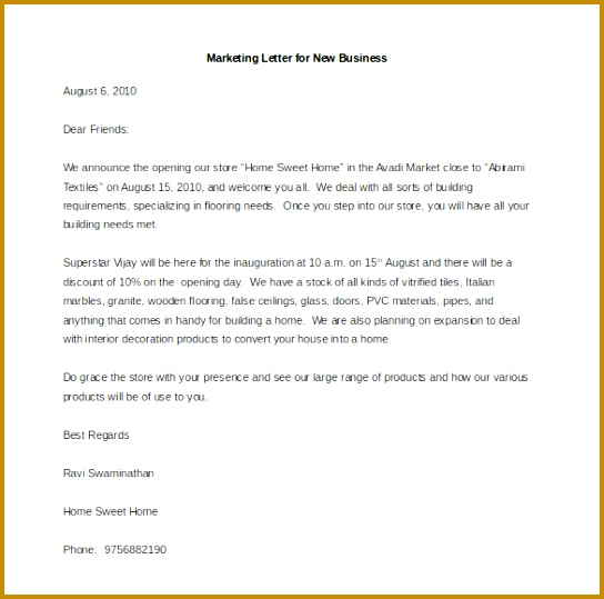 Sample Marketing Letter for New Business 539544