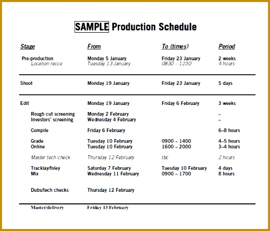 sample prod schedule 460539