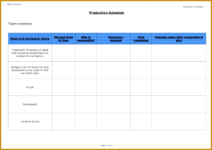 Production Schedule Template Blank 504714