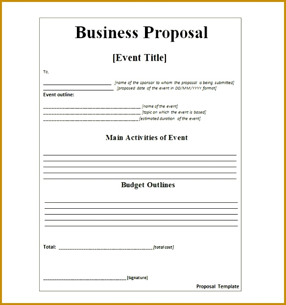 Printable Business Proposal Template 10 584624
