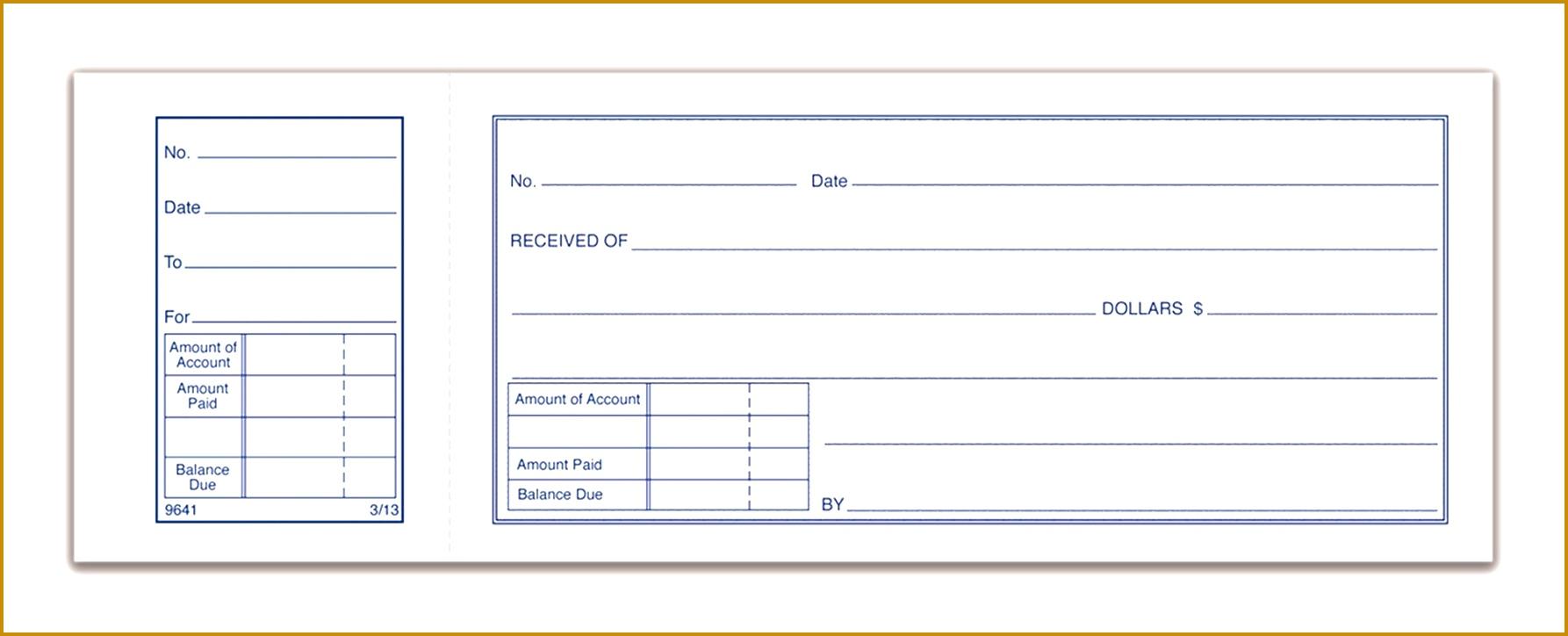 """Money Receipt Book 1 Part with tear off stub 2 3 4"""" x 7 15 16"""" 50 BK 7241786"""