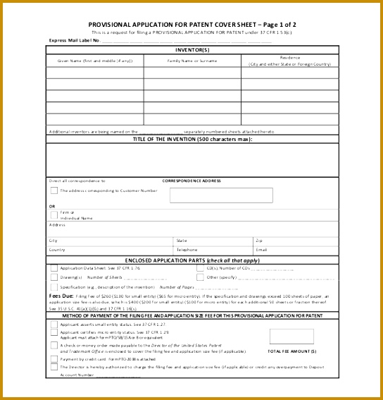 Patent Provisional Application Form PDF Format Free Download 544567