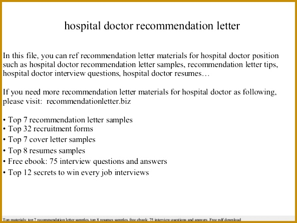 hospital doctor re mendation letter In this file you can ref re mendation letter materials for hospital Re mendation letter sample 445593