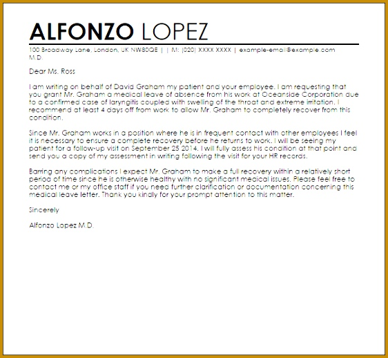 Medical Leave Letter from Doctor Sample 518562