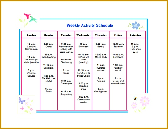 Free Download Weekly Activity Schedule Template PDF 418544