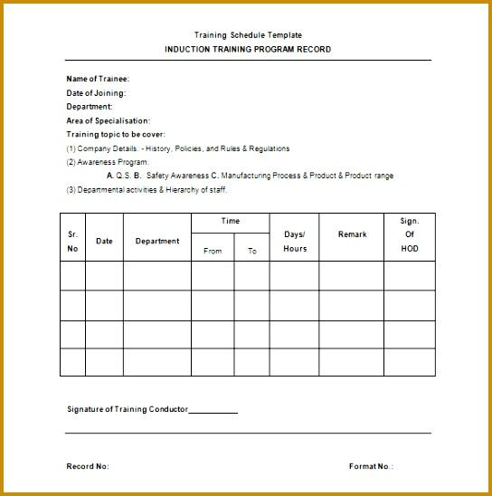 Training Schedule Program Template 544548