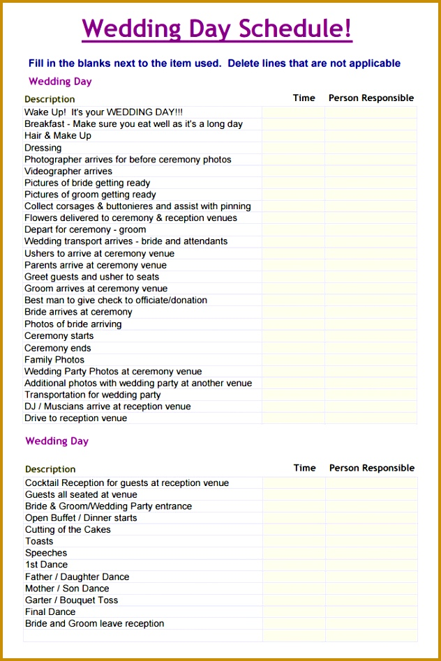 Wedding Day Scheduel Template 948632