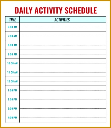 Daycare Activity Schedule Template 418362