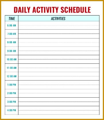 6 Schedule Of Activities Template