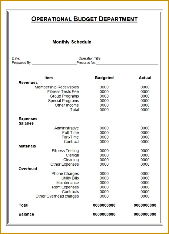 Monthly Schedule for the Operational Bud ary Activities 770558