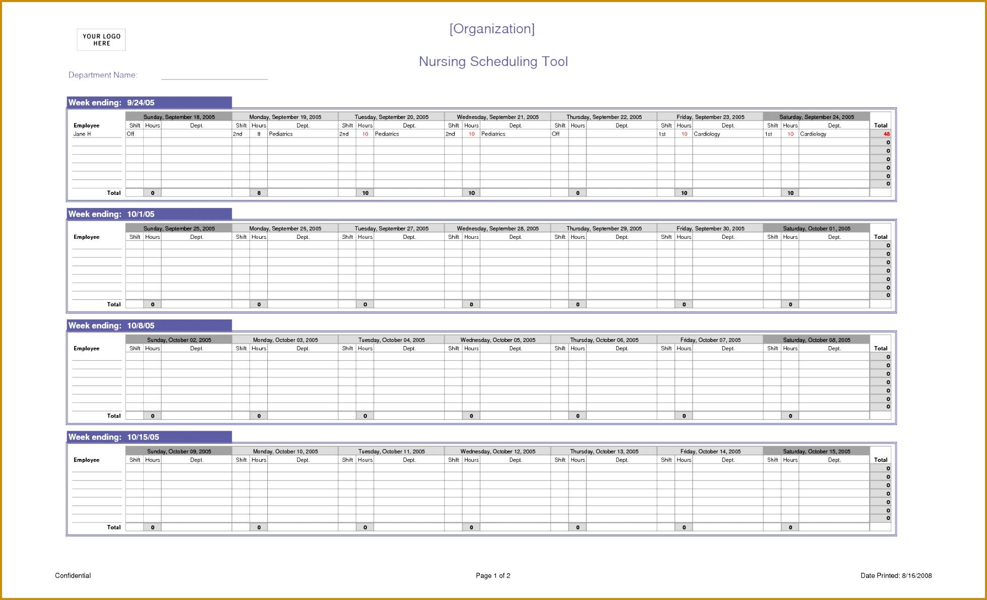 Nursing Scheduling Spreadsheet Excel Template 11911958