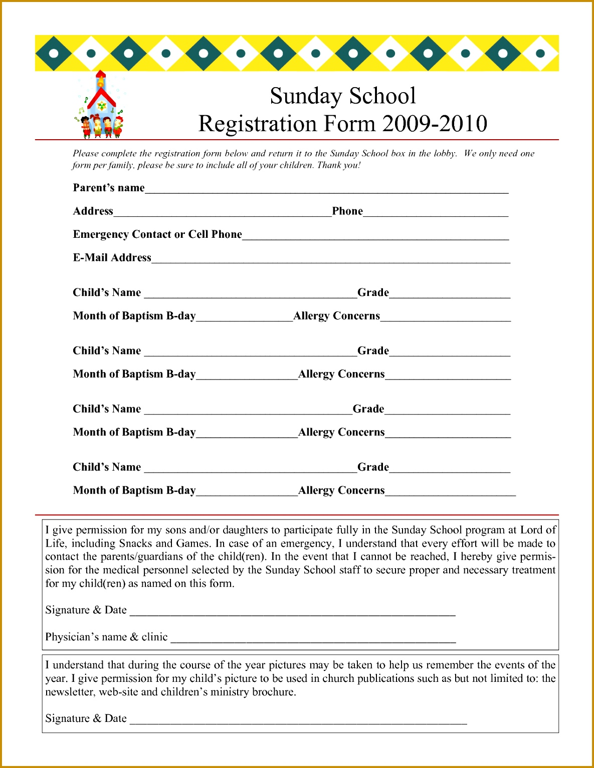 Sunday School Registration Form 2009 2010 15341185
