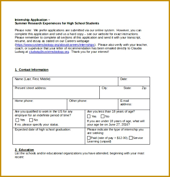 Example High School Internship Application Form Free Download 544567