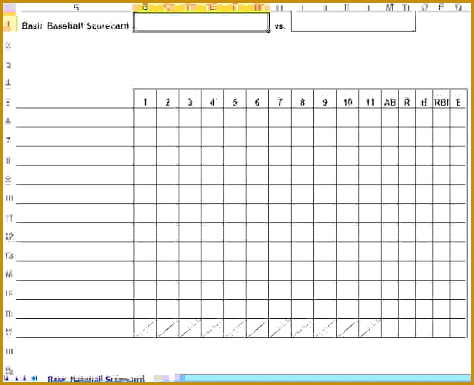 Baseball Scorecard Excel Template 666542