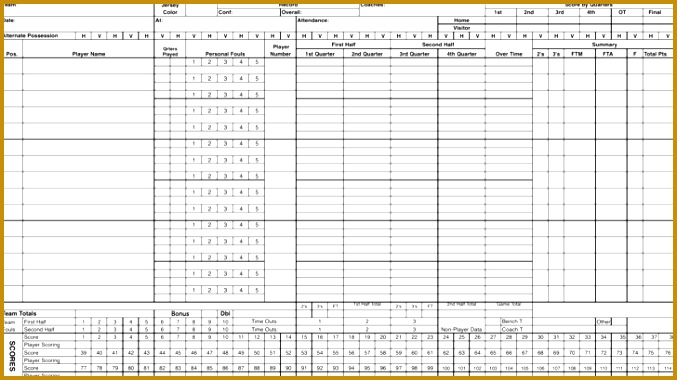 Excel Basketball Scorecard Sample Template 380677