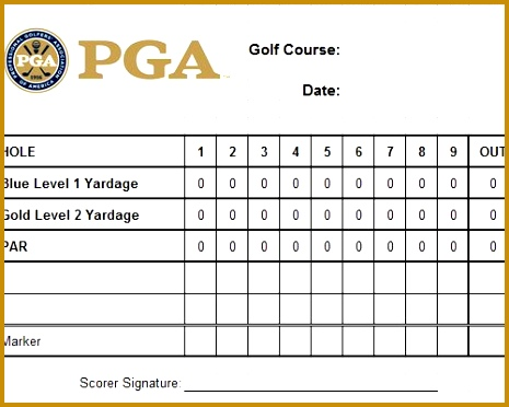 PGA GOLF SCORECARD EXCEL Golf ScorecardTemplatesVorlagePatterns 372465