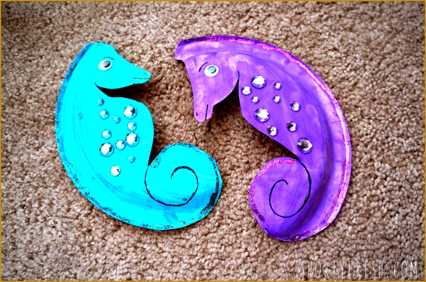 Cut out the Seahorse shape and let them color it put the wiggly eyes and gem stones on You can add details with the pen when it s done 1488987