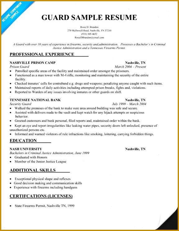 20 Professional Security Guard Resume Samples Entry Level Security Guard Resume Sample 744576